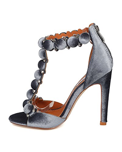 Heel Stud Sandal Studded Stiletto Heel Stiletto Grey Velvet HK04 by Strap T Women ROBBIN Sandal Button CAPE Xn8wvqAA