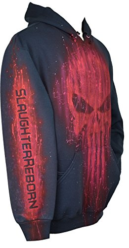 The Punisher Hoodie Red, Airbrushed, Pullover, Adult + Name, XL, Black ()