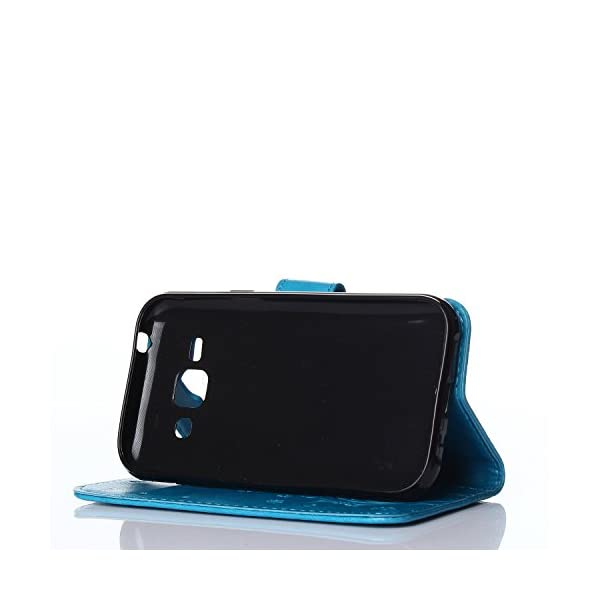 Beiuns Funda de PU Piel para Samsung Galaxy J2 SM-J200 Carcasa - R151 Noble Negro 8