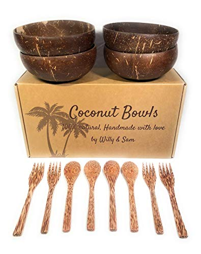 Coconut Bowl, spoon and fork 100% natural. Includes 4 Coconut Bowls, 4 Spoons and 4 Forks | Handmade with love | Ideal for making organic Breakfast, Smoothie, Salad or Buddha Bowl. Perfect Gift by Willy et Sam