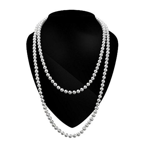 iLoveCos Party Necklaces for Women 1920s Accessories Imitation Pearl Necklace 59 Inch