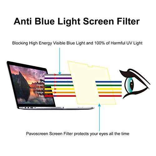 Pavoscreen Blocking Blue Light Screen Protector for MacBook Pro 15'' Touch Bar (A1707) Mid 2017/2018 Model,Protect Eyes Bubble Free Full Coverage MacBook Pro 15'' Screen Filter by Pavoscreen (Image #3)