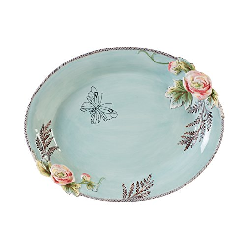 16.5' Platter (Fitz and Floyd English Garden Serving Bowls, Baby Blue)