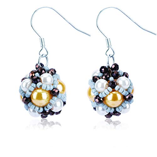 Jane Eyre Ball Dangle Earrings Boho Ethnic Multicolor Pierced Bead Earrings for Women Beaded Fish Hook Earrings (White & Multicolor) -