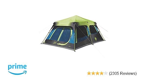 Amazon.com : Coleman 10-Person Dark Room Instant Cabin Tent with ...