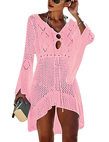 Ailunsnika Women Sexy Knitted Crochet Beach Bikini Cover Up Flare Sleeve Drawstring Hollow Out Tunic Dress Pink