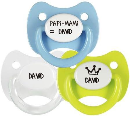 Pack 3 chupetes personalizados Modelo Papi mas Mami con el nombre de David: Amazon.es: Bebé