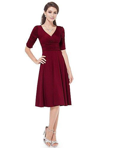 PU&PU Robe Aux femmes Gaine Simple,Couleur Pleine Col en V Mi-long Coton , wine-m , wine-m