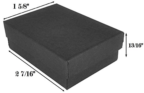 888 Display USA Made in USA Matte Black Kraft Jewelry Gift Box with Removable Cotton Pad 2 7/16