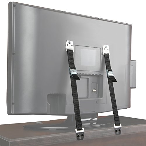 (Safety Baby Metal Furniture / TV Straps - Earthquake Proof - Bolts & Hardware Included (2)