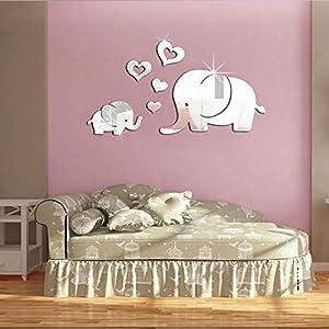 Elephant Wall Decor Mirror Sticker DIY Decal Removable Art Baby Kid Room Mural for Kids Baby Girls Boys Children…