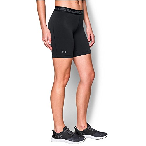 "Under Armour Women's HeatGear Armour 7"" Long, Black/Black, Large"