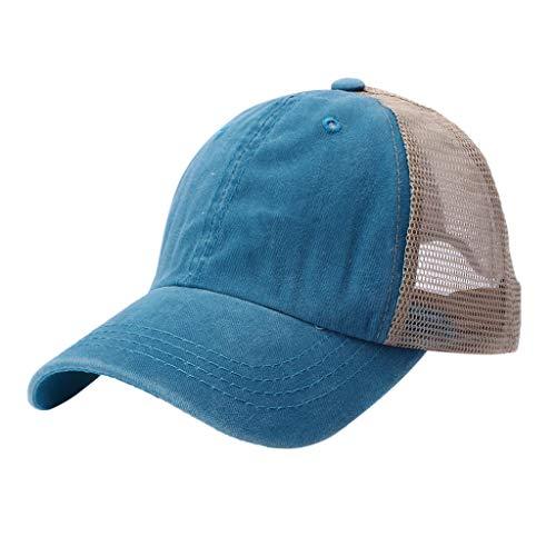 - TANGSen Unisex Outdoor Cotton Sun Hat Embroidered Mesh Baseball Summer Caps Casual Adjustable Light Blue