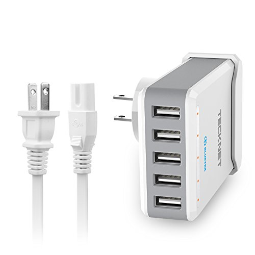 TECKNET 40W 5-Port Portable Travel USB Wall Charger Power Adapter with BLUETEK Technology for Apple iPhone X/8/7/6S/Plus, iPad Pro/Air 2/Mini, Samsung Galaxy S7/S6/Edge/Plus, HTC and More by TECKNET