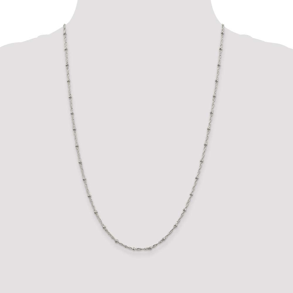 925 Sterling Silver Fancy Necklace in Silver Choice of Lengths 15 38 18 16 20 24 30 7 8 and 2.5mm 6.1mm