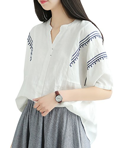 YESNO Y67 Women Casual Loose Fit Embroidered Blouse Shirt 100% Linen Stitched Hi-Low Hem Short Sleeve