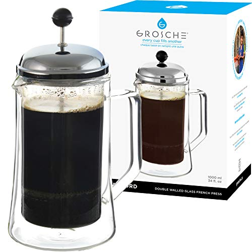 GROSCHE Stanford Double Walled Glass French Press Coffee Maker 34 fl oz, 1000 ml, 8 demitasse cup Insulated French Press…