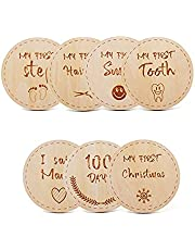 Eminence 7Pcs Wooden Baby Monthly Milestone Cards,Circle Shape Hand Crafted Baby Milestone Cards Can be Used as Photography Props,Baby Birth Gifts,Souvenir,Decorative Items