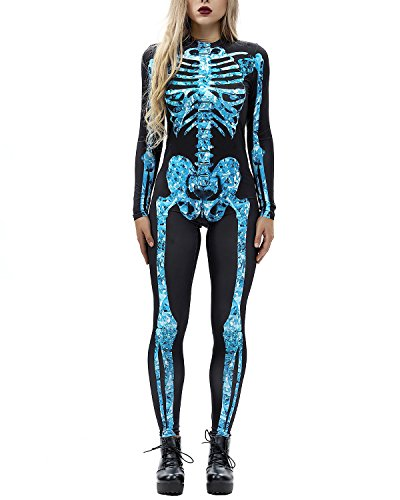 F Style Fashion Halloween Crystal Skeleton Jumpsuits Gothic Cosplay Costumes for -