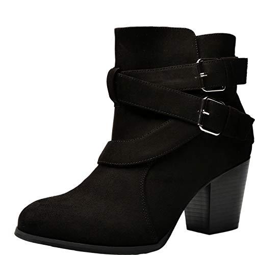 Luoika Women's Wide Width Ankle Boots - Buckle Strap Block Heel Side Zipper Plus Size Booties.(180615,Black,8WW)