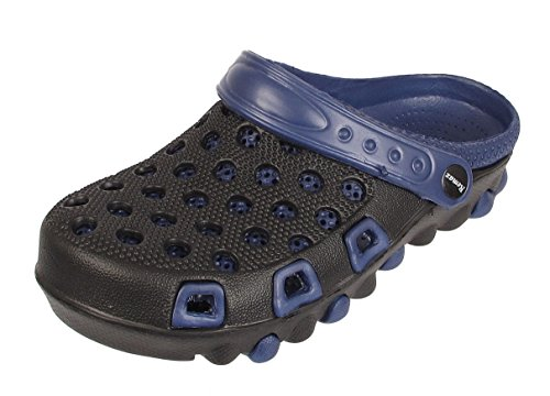 Mens Work Holiday Clogs Garden Kitchen Hospital Sandals Mules Slip On Beach Shoe Black / Navy VOYAkvVBRU