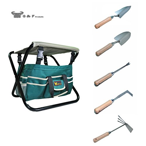 Set Garden Tool 1 - G & F Products 7 Piece All-in-One Premium Garden Tool Set,Heavy Duty Folding Stool, Detachable Canvas Tool Bag and Heavy Duty Steel Tools