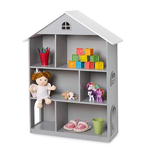 Wildkin Dollhouse Bookcase, Features Sturdy Wood Construction & Adorable Dollhouse Design, Perfect for Organizing Books, Toys, & More - Gray