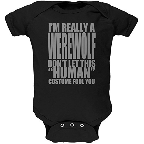 [Halloween Human Werewolf Costume Soft Baby One Piece Black 3-6 M] (Human Wolf Costume)