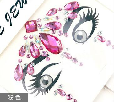 2018 Dance performance face jewels Crystal Temporary Eyes Tattoo Transfer Eyeshadow Eyeliner Face Stickers(Pink)