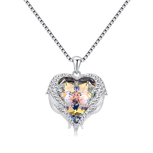 "- Denvosi Heart Necklaces for Women ""Guardian Angels"" Made with Swarovski Crystals Pendant Necklaces for Girls Gift for Mom Wife Lover Blue"