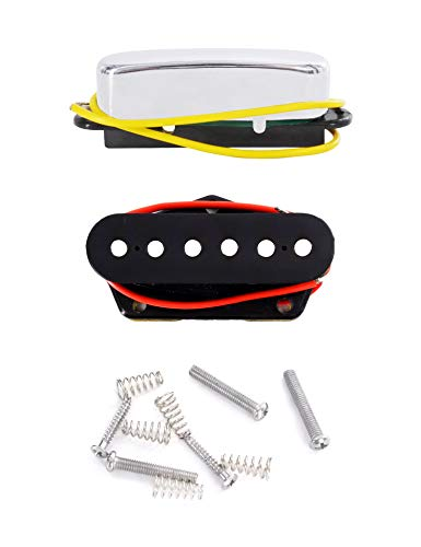 Metallor Single Coil Pickups Set Ceramic Magnet Neck and Bridge Pickup Compatible with Tele Telecaster Style Electric Guitar Parts Replacement.