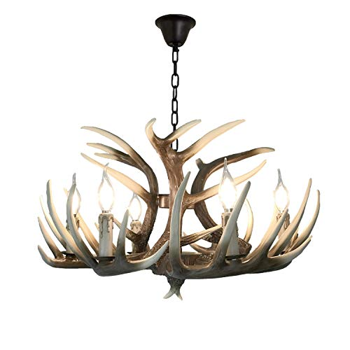 Lymxxl American Deer Horn Chandelier 6 Lights+3 Heads 33.8″ diameter15.75″Tall for Home,Bar,Cafe, Store, Vintage Style Resin Antler Pendant Lights Retro Deer Horn Lights (6lights Antler + 3antlers)