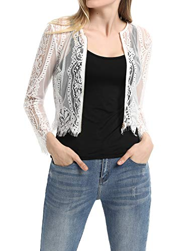 - Casual Lace Vest Blouse Sexy Zipper T-Shirt Top with Tassels (M,White)