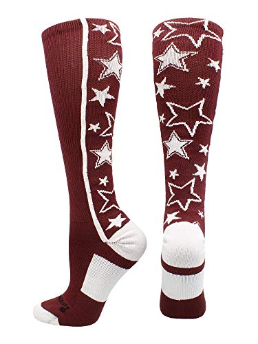 Crazy Socks with Stars Over The Calf Socks (Maroon/White, Medium)