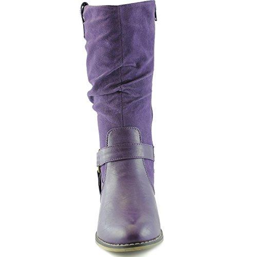Womens Slouch Metà Polpaccio Cinturino Alla Caviglia Fibbia Western-01 Stile Stivali Da Cowboy Viola Sv
