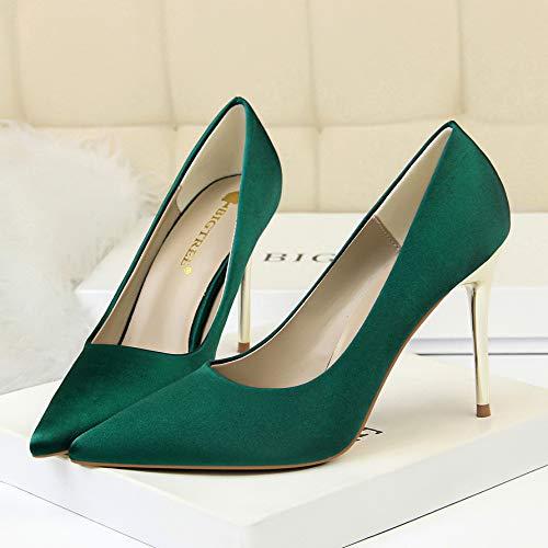 Mujer Profesional Green Satén Acentuado zapatos Otoño Negro de Individuales E Stiletto Tacón Zapatos De Invierno Nightclub Yukun 37 Trabajo Plata Alto tacón alto Zapatos Oq0gdRw