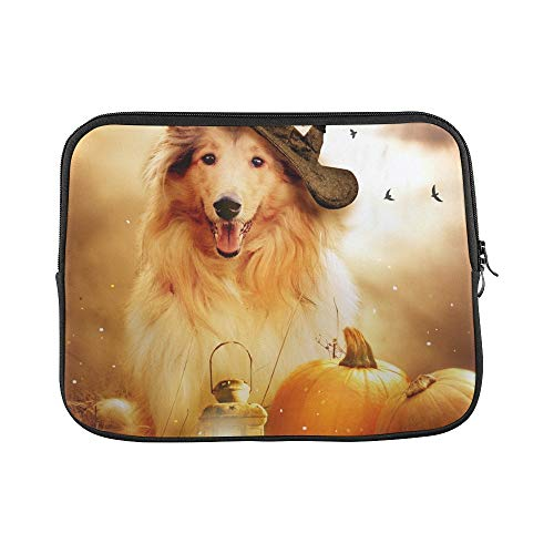Design Custom Collie Dog Witch Hat Decorated Halloween Sleeve Soft Laptop Case Bag Pouch Skin for MacBook Air 11