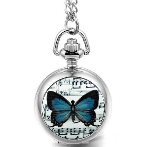 Jewelrywe Music Note Butterfly Pendant Quartz Pocket Watch White Dial Arabic Numerals Gift ()