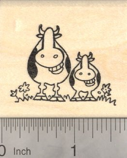Mother's Day Grinning Cow Rubber Stamp, Cow with Baby