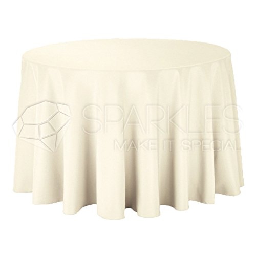 "Sparkles Make It Special 10-pcs 108"" Inch Round Polyester Cloth Fabric Linen Tablecloth - Wedding Reception Restaurant Banquet Party - Machine Washable - Choice of Color - Ivory"
