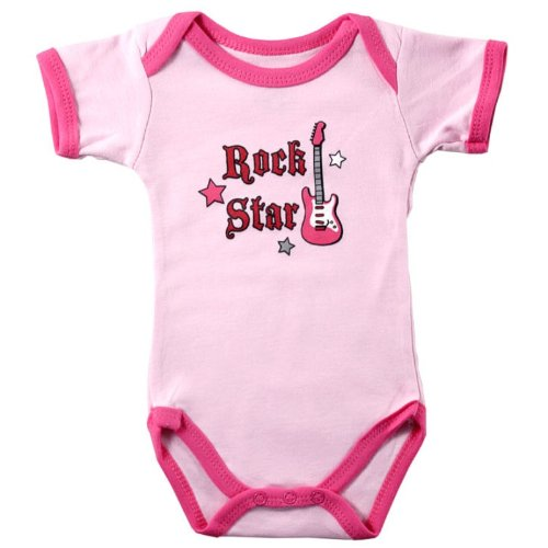 Girl's Pink Rock Star Baby Bodysuit with Guitar