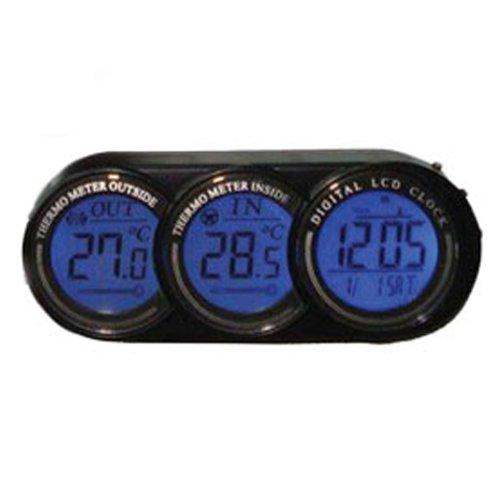 Termómetro Digital para Interior/Exterior con Reloj Alarma Fecha Termómetro de Coche: Amazon.es: Coche y moto