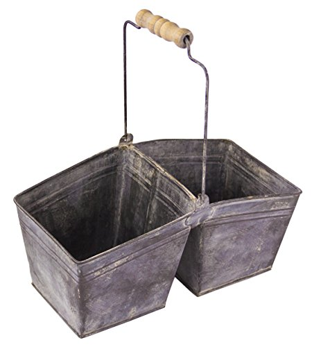 - Rustic Galvanized Double Berry Basket with Handle