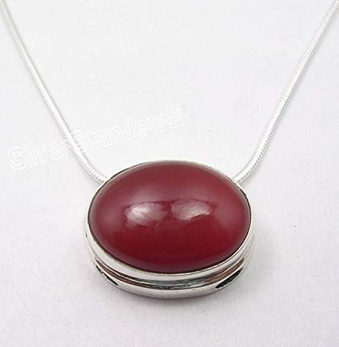 SilverStarJewel 925 Sterling Silver Red Oval Cabochon Carnelian Necklace 18.3 Jewelery Gift