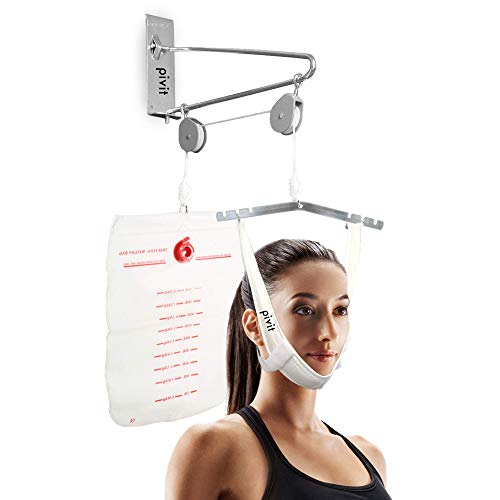 Pivit Over Door Cervical Traction Kit, Neck Disk Relief, Complete Set   Sturdy, Chrome-Plated Steel Construction   One Size Fits All & Adjustable   Neck Stretcher for Home Traction Spine Alignment