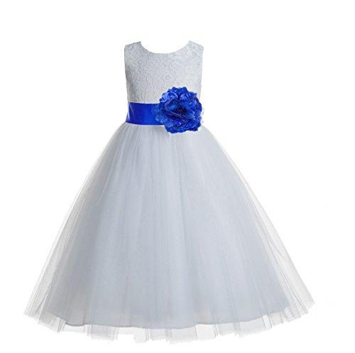 ekidsbridal Floral Lace Heart Cutout White Flower Girl Dresses Horizon Blue First Communion Dress Baptism Dresses 172T 8 (Horizon Wedding)