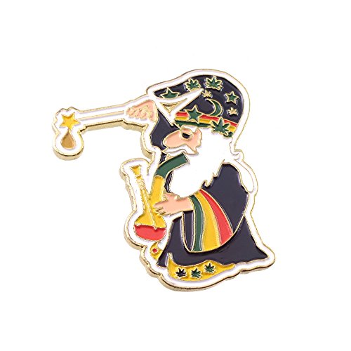 (Various Dab Stoner Graffiti Novelty Enamel Pin Hip Hop Weed Culture Hat Trippy Pins (Rasta Wizard))