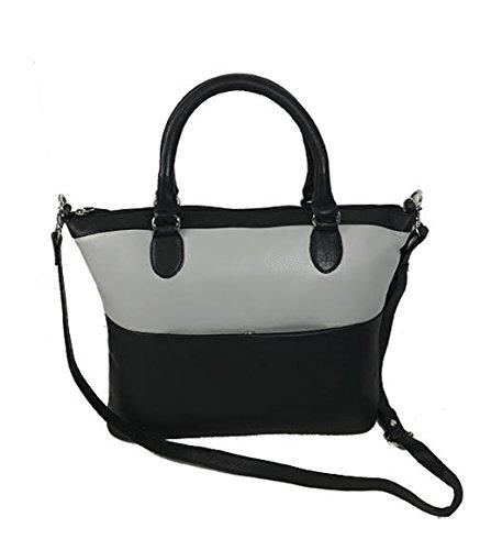Pielino Genuine Leather Color Block Medium Satchel Handbag 93120 (oyster)