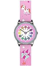 Cander Berlin MNA 1230 E kinderhorloge kinderhorloge polshorloge meisjes horloge leren wijzerplaat eenhoorn roze bont
