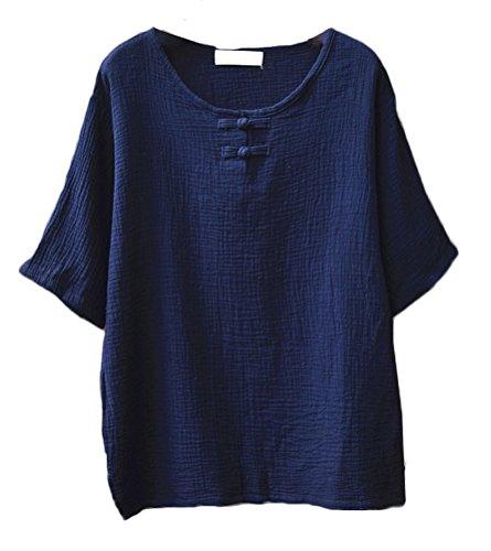 Soojun Women's Chinese Frog Button Cotton Linen Blouses Short Sleeve Tops Navy (Blue Linen Blouse)